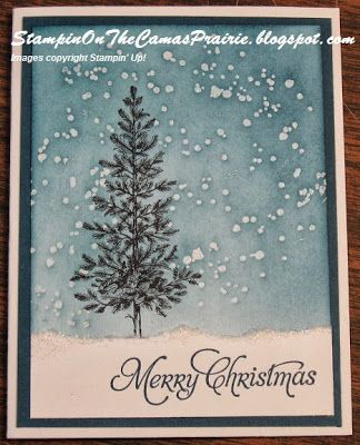 Stampin' on the Prairie: Lovely as a Tree in the Snow, Stampin' Up!, Lovely as a Tree stamp set, Iridescent Ice stampin' emboss powder, emboss resist technique.
