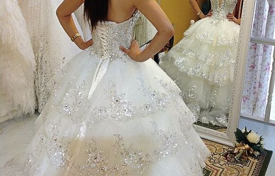 Ball Gown Strapless Organza Heavy Crystal Lace Applique Beads Wedding Dress