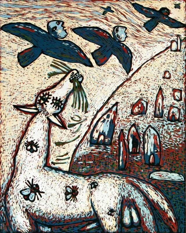 Blue flying beings - 2015, linocut, 42,5 x 34 cm, limited edition of 12 prints,