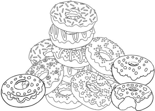 Yummy Donuts Coloring Pages Printable Donut Coloring Page Cartoon Coloring Pages Food Coloring Pages