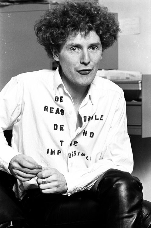 "Malcolm McLaren wearing SEX original ""Be Reasonable Demand the Impossible"" shirt, 1976"