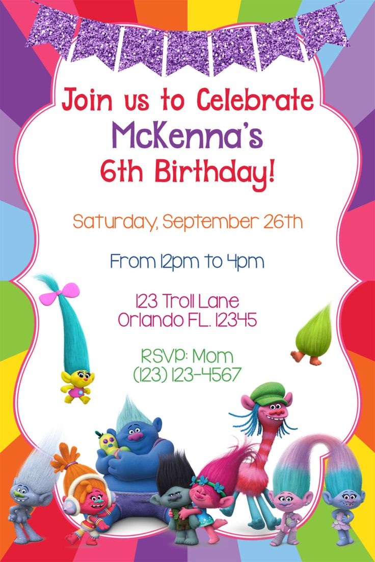 Trolls Invitation, Trolls birthday, Troll invites, Dreamworks Trolls invite, Trolls party, Trolls Printables, troll birthday invitation by mommydesign2026 on Etsy https://www.etsy.com/listing/489977330/trolls-invitation-trolls-birthday-troll