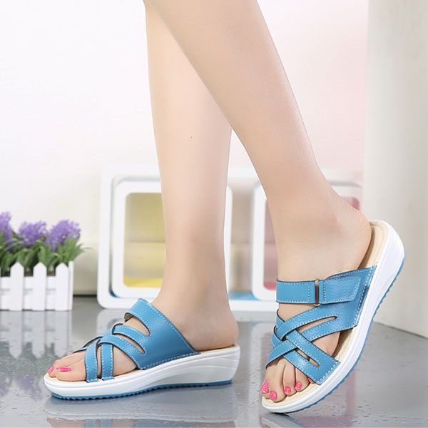 High-quality Women Candy Color Leather Cross Summer Flat Platform Sandals - NewChic