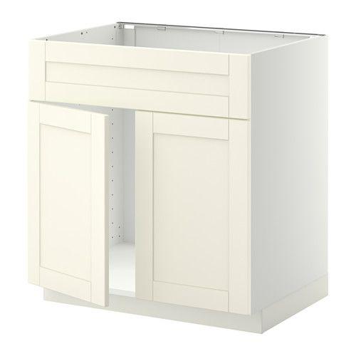 METOD Base cabinet f sink w 2 doors/front - white, Grytnäs off-white - IKEA