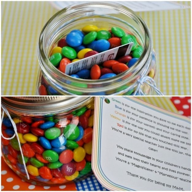 M&M Jar | 24 Cute And Clever Ways To Give A Gift Card -Follow Driskotech on Pinterest!