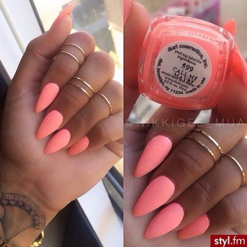 peach nails stiletto nails