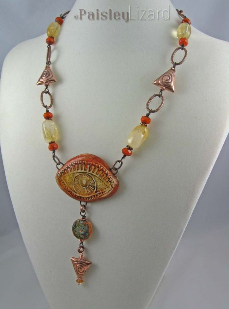 Orange Evil Eye necklace | by Paisley Lizard
