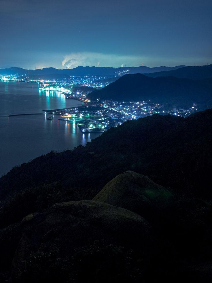 Town lights in Okayama, Japan 岡山