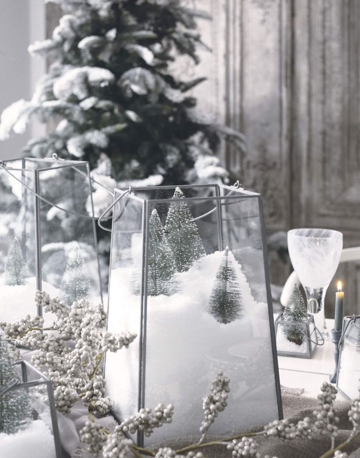 Winter Wonderland Table Settings Part - 39: Winter Wonderland Table Setting With Snow Drift Centrepieces