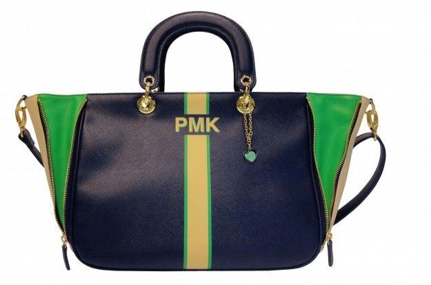 Handbag verde e blu Pomikaki