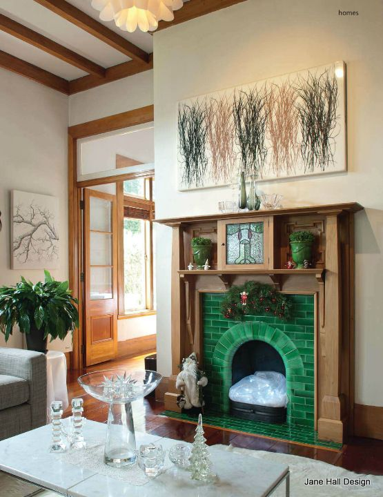 Rustic Style Living Room With A Jade Green Fireplace