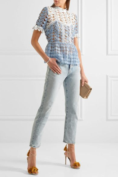 Self-portrait, $340. Pale-blue and white guipure lace Concealed zip fastening along back 100% polyester; trim: 100% cotton Dry clean Imported