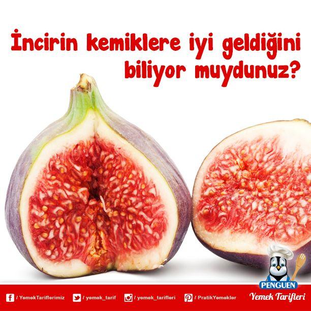 İncir, kemik sağlığı için gerekli vitamin ve minerallerden yüksek miktar içeren bir meyvedir.Bir kase incirde 180 miligram kalsiyum bulunur. Ayırca C vitamini ve K vitaminlerini de ihtiva eder.