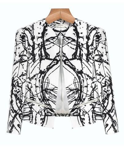 White Black Graffiti Print Zipper Crop Blazer