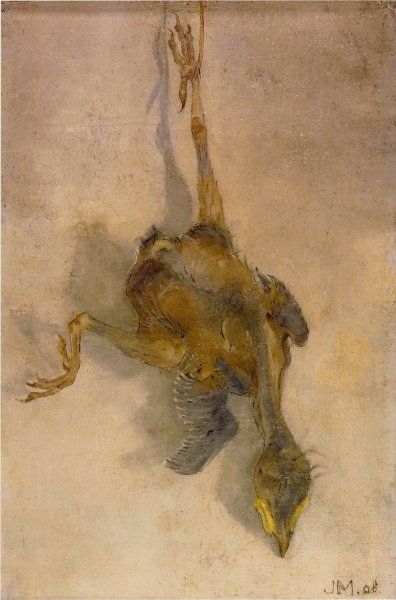 Jan Mankes – Dood vogeltje, 1908, Olieverf/doek op paneel, 195x130 mm