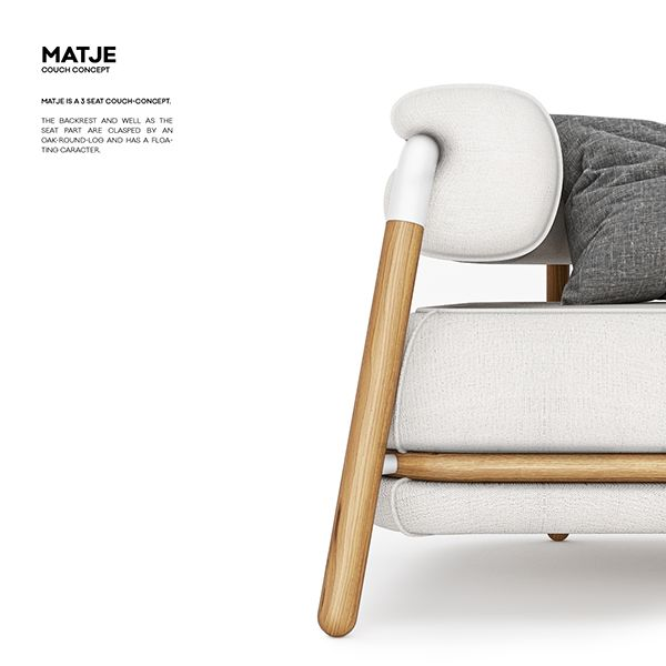 MATJE is a 3 seat couch-concept. The backrest and well as the seat part are clasped by an oak-round-log and has a floating caracter.