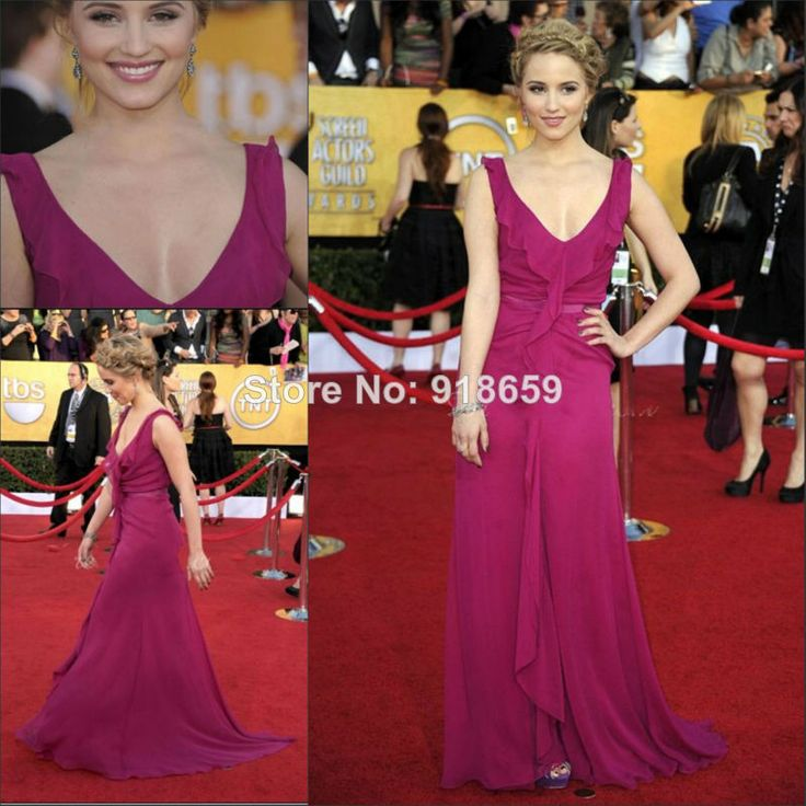 Elegant Evening Dress 2014 Hot Pink Long A Line Chiffon Prom Dresses Custom Made Red Carpet Celebrity Dresses Gowns $129.00
