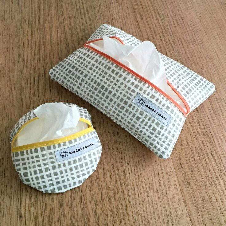 Don't like cardboard tissue boxes? Pull the tissues out & keep them in a fabric case that matches your home decor!  www.madebymaca.com