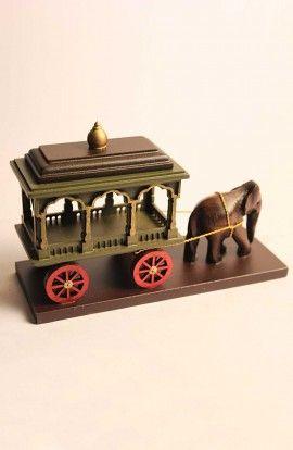 Wood Elephant Cart Puller