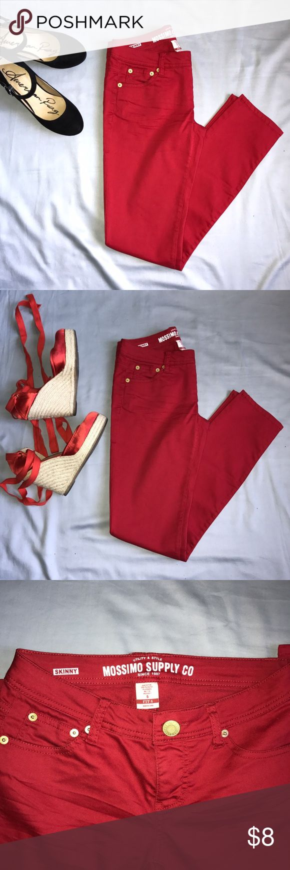 Red Skinny Pants These are very comfortable, but they no longer fit me. They have a good stretch, enough for a contour fit. Looks great against a white t-shirt. Worn a couple of times but in great condition. Mossimo Supply Co Pants Skinny