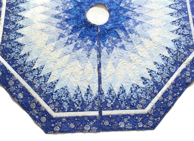 Blue Christmas Tree Skirt Quilt - 60 inch Blue Silver and ...