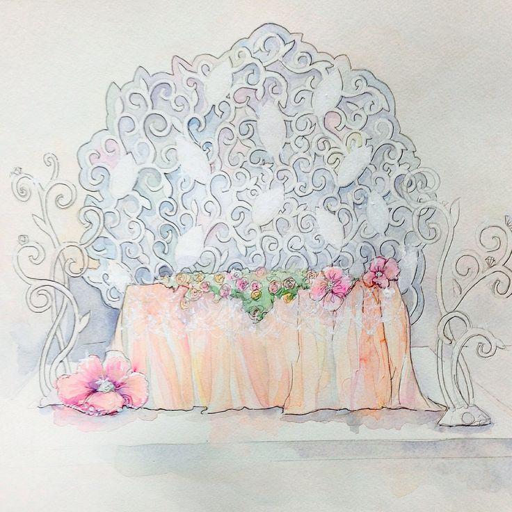 Эскиз оформления свадьбы,  оформления президиума, стол молодоженов. Концепция ювелирная свадьба.