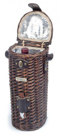 The Vineyard Collection - Willow cooler wine basket for 1 bottle with wooden…