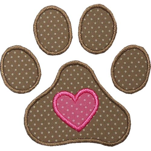 Pawprint Heart Applique by HappyApplique.com