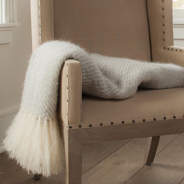 Fog Gray Handwoven Mohair Throw - inspired by Nantucket. Individually handcrafted in our Main Street studio from brushed mohair yarn.