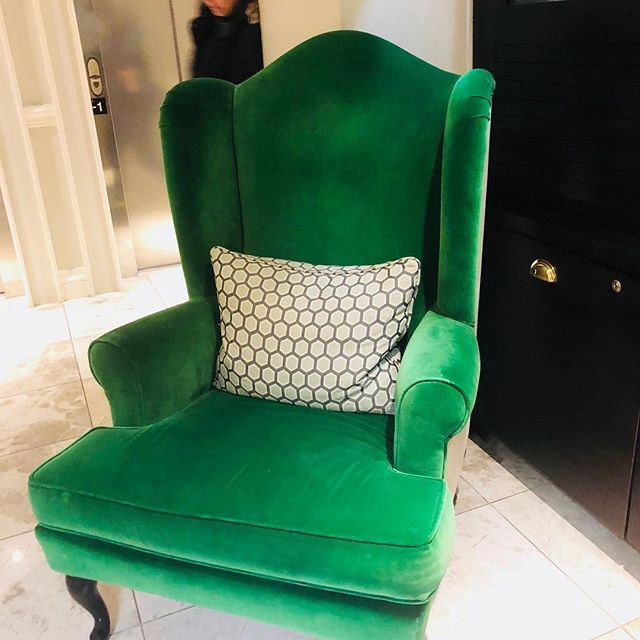 This gorgeous chair that I wanted to carry Home  from the Ampersand hotel! I do love this shade of green! Lean more on my blog