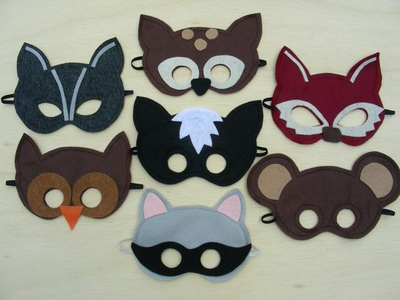 DIY: Make these felt masks for the next 'forest animals' themed bithday party.