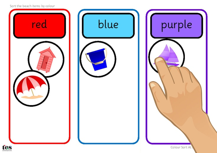 At the Beach themed activity to use at a workstation or in a small group. Contains base board with areas for sorting into colours and images to sort. Base board contains red, blue and purple and could be used for sorting other items, such as maths cubes or compare bears