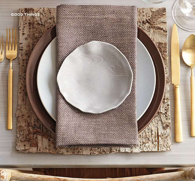 Nature meets menswear in a textured table setting via Martha Stewart.