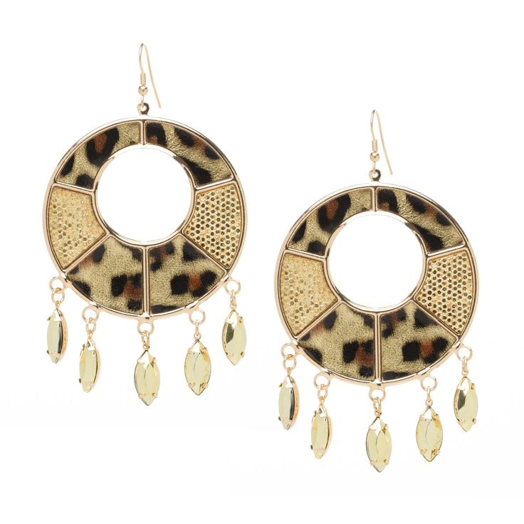 Our Animal Instinct tells us this earring set is the perfect mix of luxe and wild. Marquise jewels dangle playfully from an open circle of leopard print and shimmering metallic.