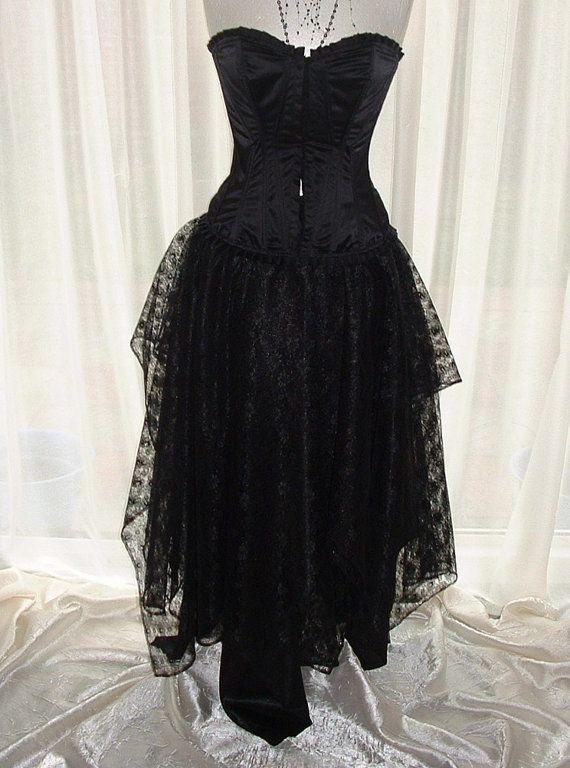 ladies black skirt maxi long goth fantasy shimmer by darkestdreams, $54.00