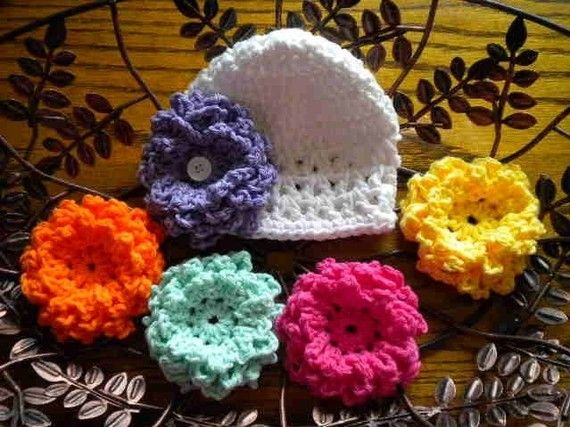 Baby Girl Hat  Garden Party Baby Beanie   03 par OohSoChicBoutique, $13,99