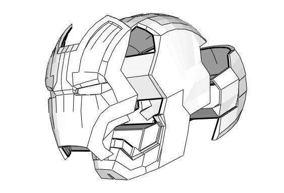This papercraft is aMark 42 (Mark XLII) Helmet, one part of the Iron Man Mark 42 Suit Armor, the paper model is created by fgkz. There are also other two