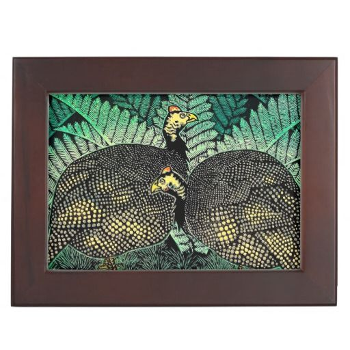 Guinea Hens kasamatsu shiro bird leaf japanese art Memory Boxes