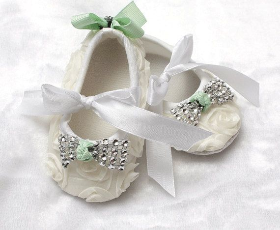 coming home outfit christening outfit bling baby shoes baby mint and ivory baby shoes newborn photo prop baby rosette baby shoes sparkle by ChesapeakeBayby on Etsy