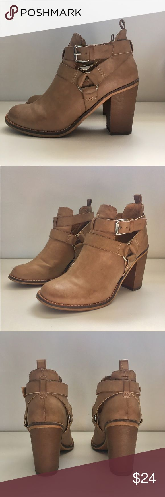 Report- Light tan heeled booties size 8 Light tan faux leather booties with a 3.25 heel by Report. Size 8. In good condition Report Shoes Heeled Boots