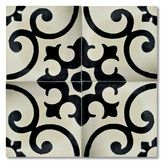 """Found it at Wayfair - Malaga 8"""" x 8"""" Marble Hand-Painted Tile in Black and Ivory"""