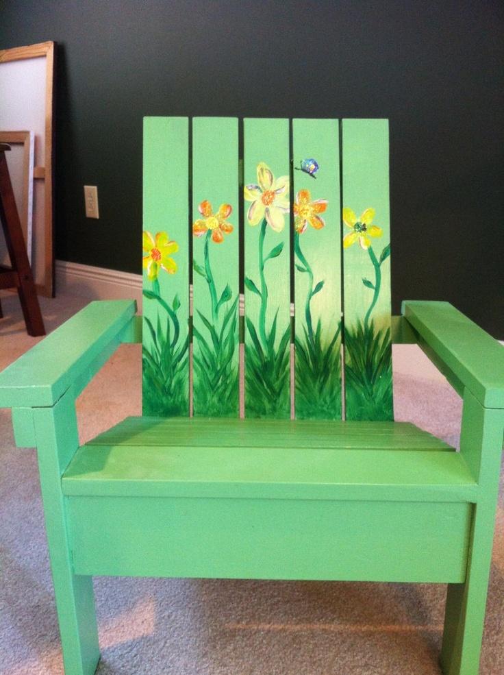 Hand-made, hand-painted girls adirondak chair