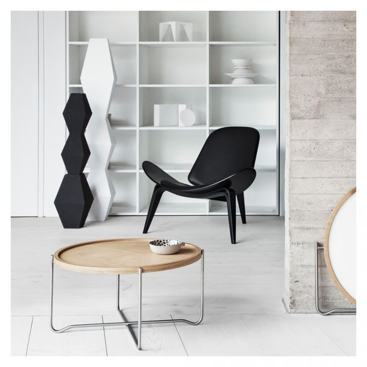 CH07 Shell Lounge Chair Black Beech U0026 Black Leather