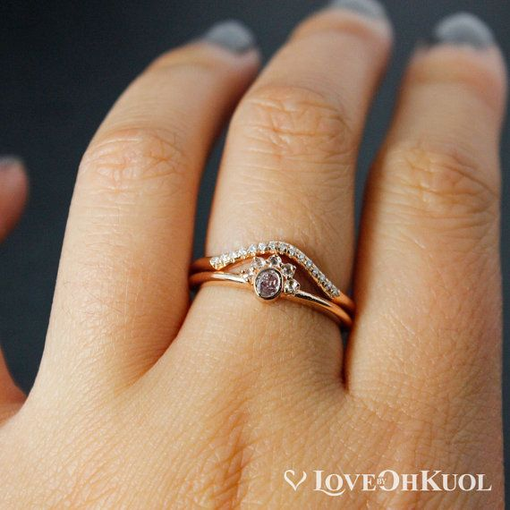 Crown Diamond Ring Oval Pink Diamond Matching Curved Band