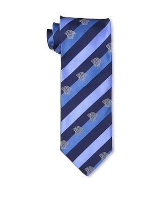 Versace Men's Wide Stripe Tie, Blue
