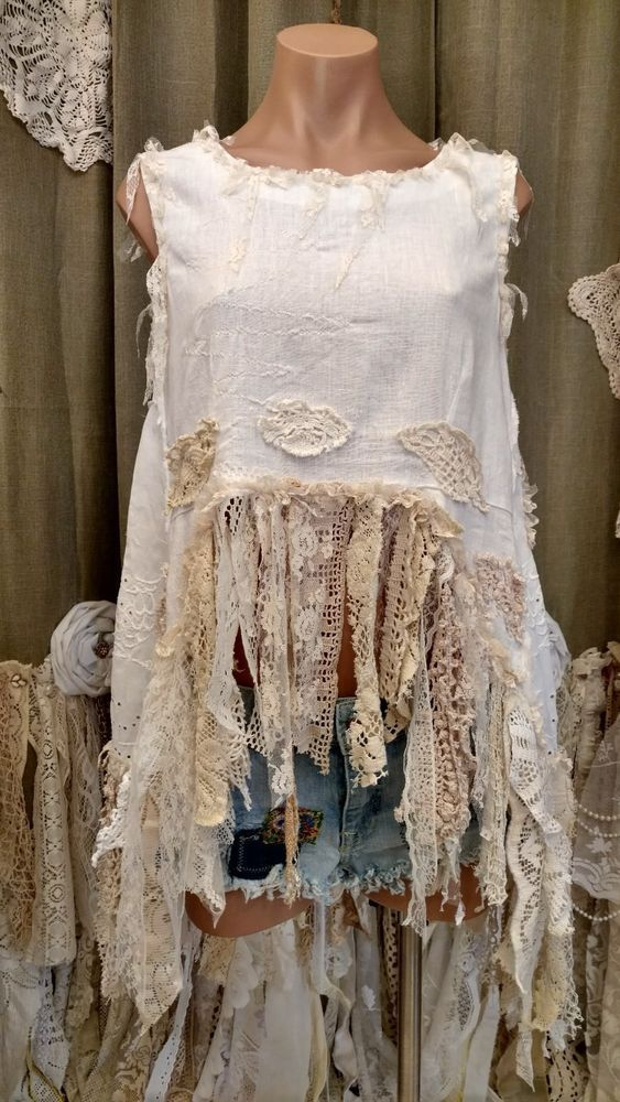 White Linen Silk Summer Boho Hippie L Top Vintage Lace Sleeveless Shirt tmye …   – Romantik Mode