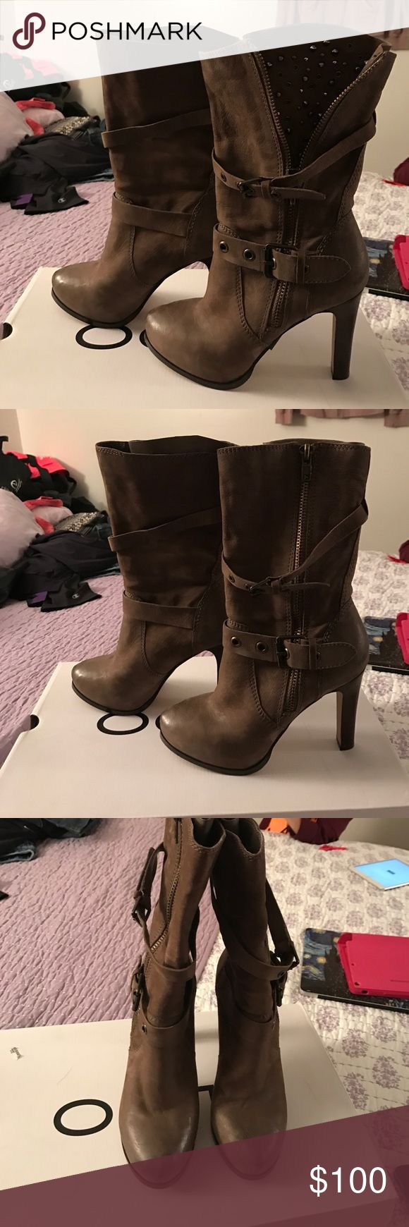 Worn once brown aldo boots size 9 Worn once brown aldo boots size 9. These boots are so hot. You can wear them two ways. You can wear them with the spikes showing or with out. I only had the chance to wear them for my birthday. Give these boots a home. Accepting reasonable offers Aldo Shoes Heeled Boots