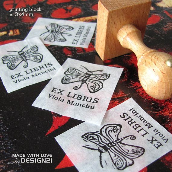 Night butterfly: personalised stamp 3x4 cm by lida21 on Etsy