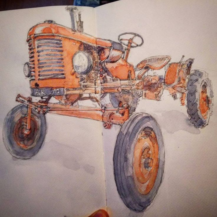 Un vieux tracteur urbain. #sketch of the day #sketcher #drawing #paris #uskfrance  #usk #painting  #watercolorpainting  #watercolor #tractor  #