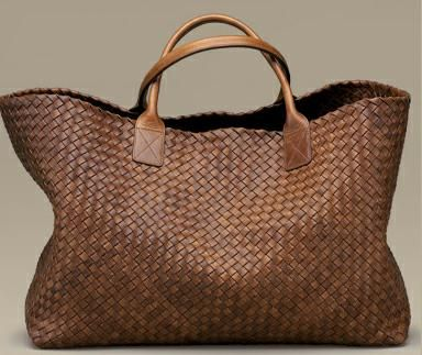 brown, woven bag, leather